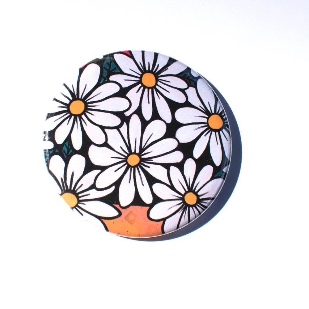 Daisy Pocket Mirror, Fridge Magnet, or Pin Back Button