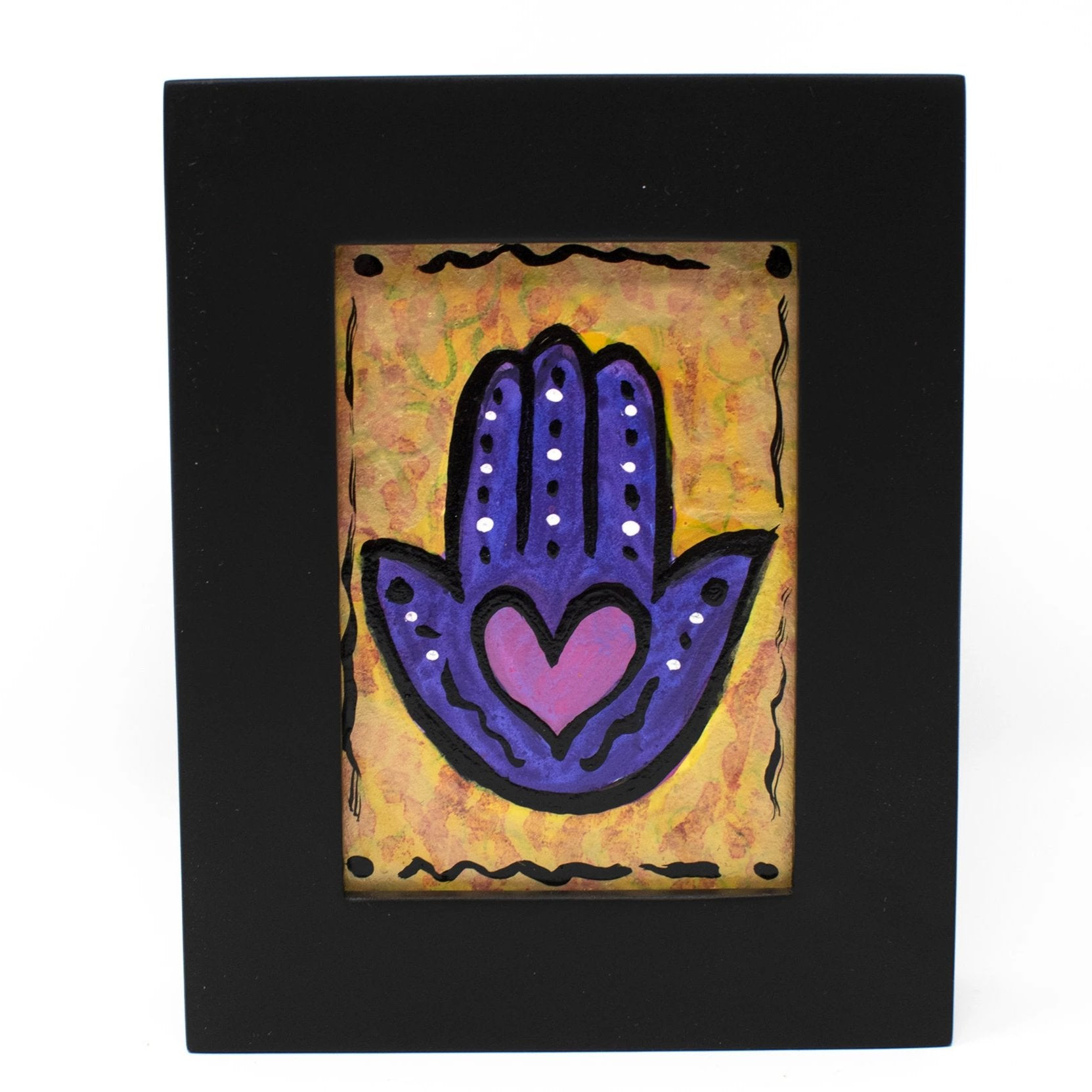 Framed Heart Hamsa Mini Painting - Cute Desk, Shelf, or Wall Art Decor
