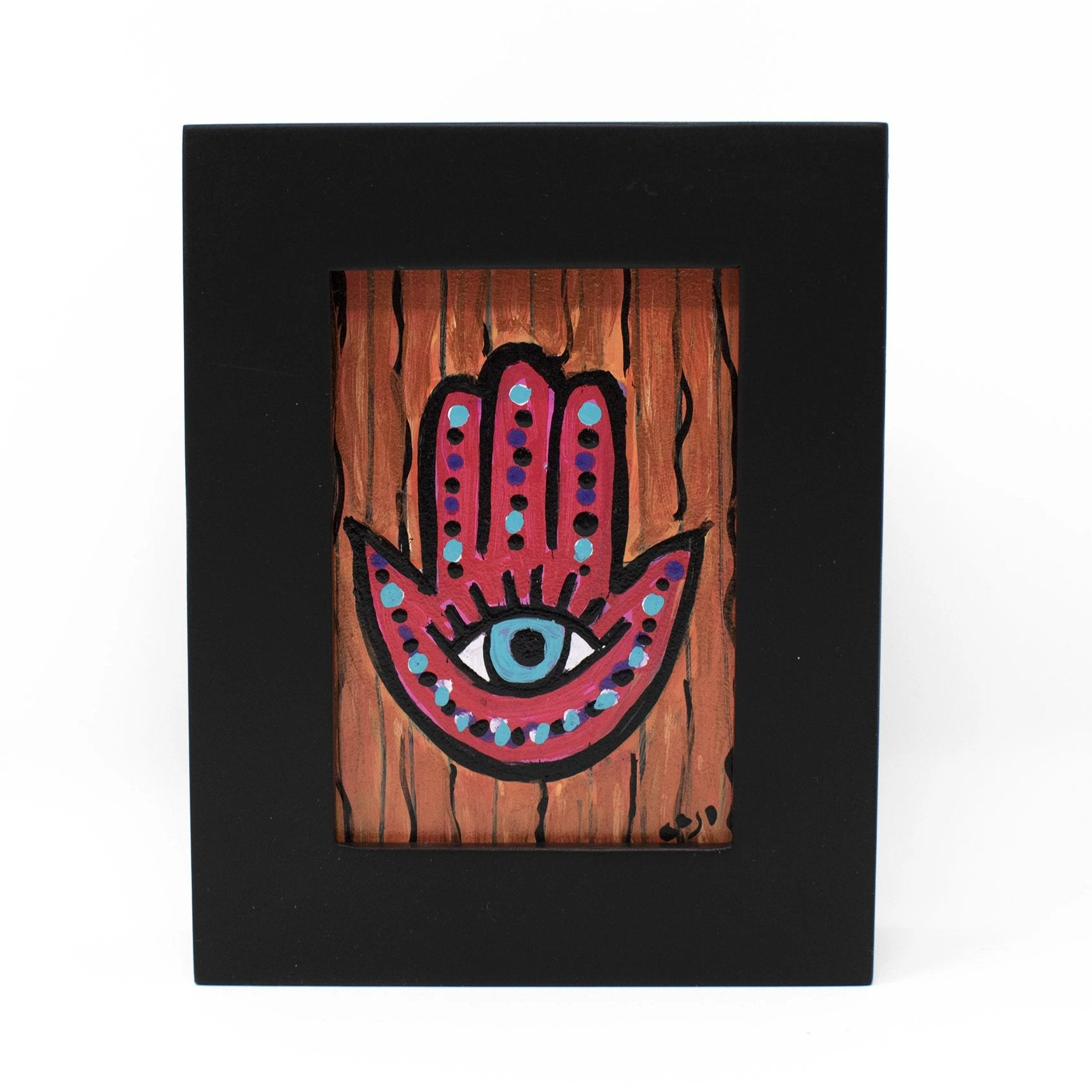 Framed Evil Eye Hamsa Painting