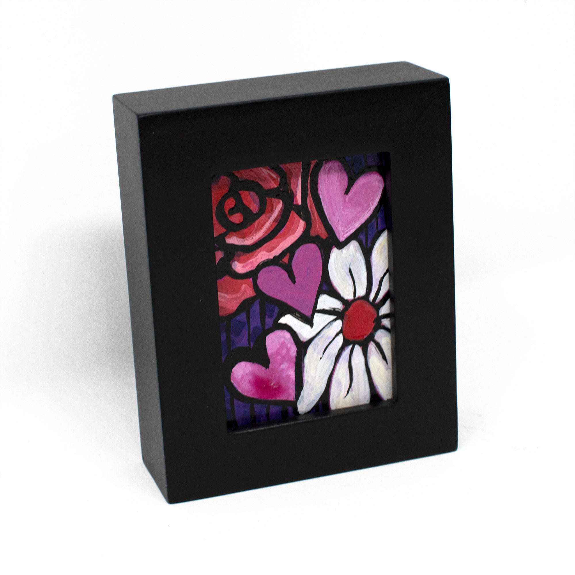 Hearts and Flowers Mini Painting - Framed ACEO