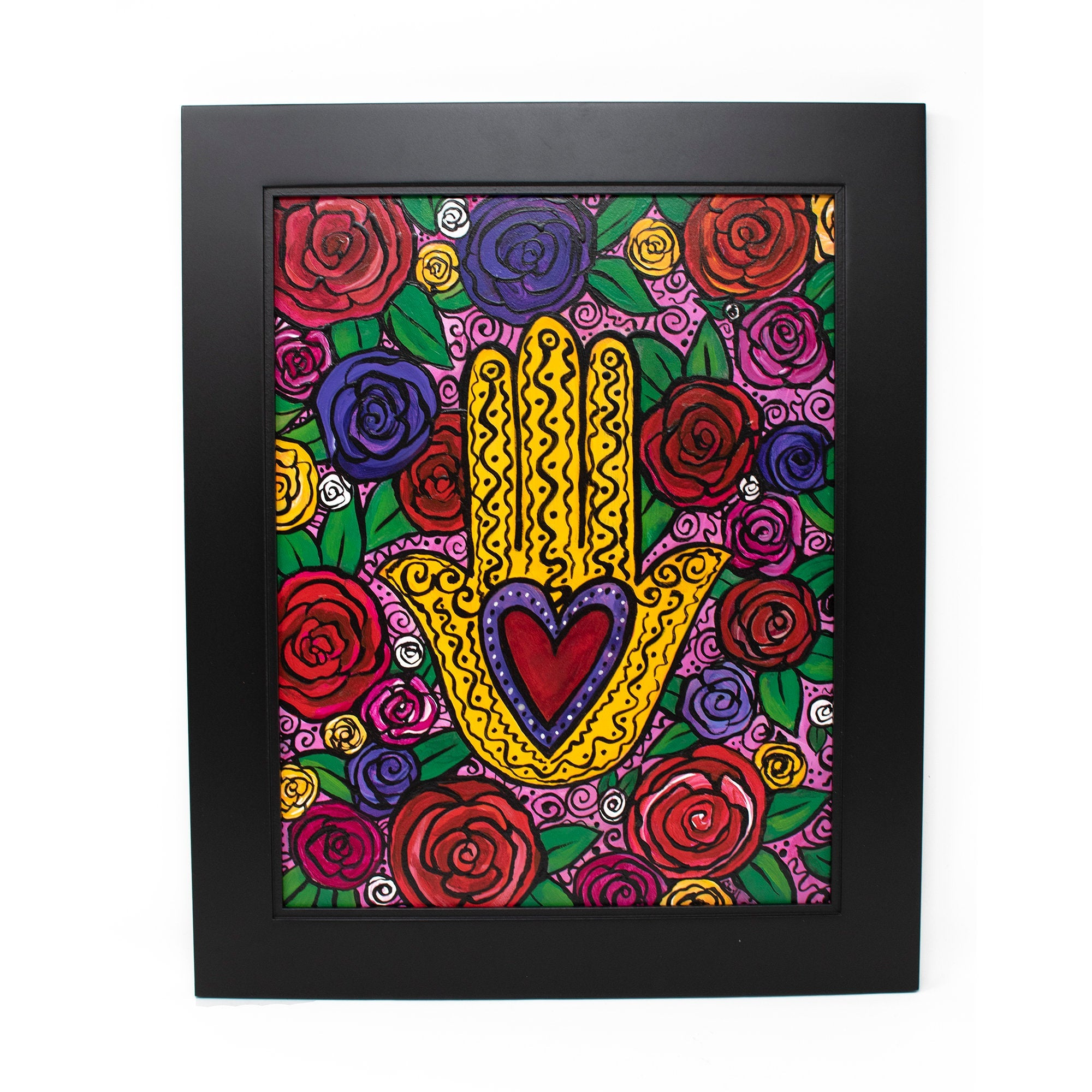 Original Hamsa Wall Art - Rose Hamsa Painting with Heart and Flowers