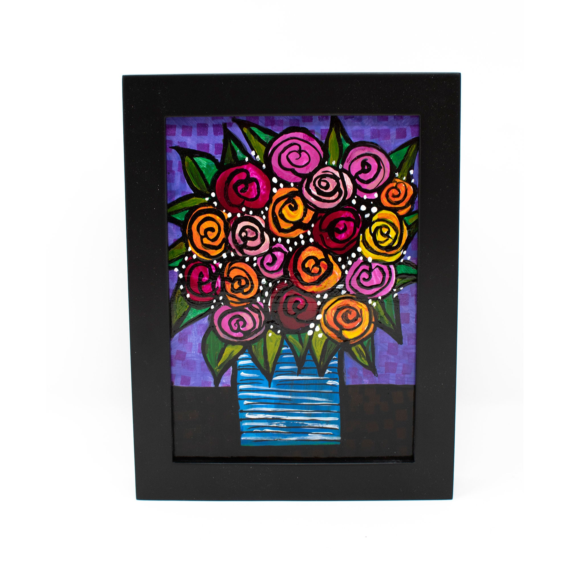 Vase of Roses Still Life Painting - Whimsical Floral Art