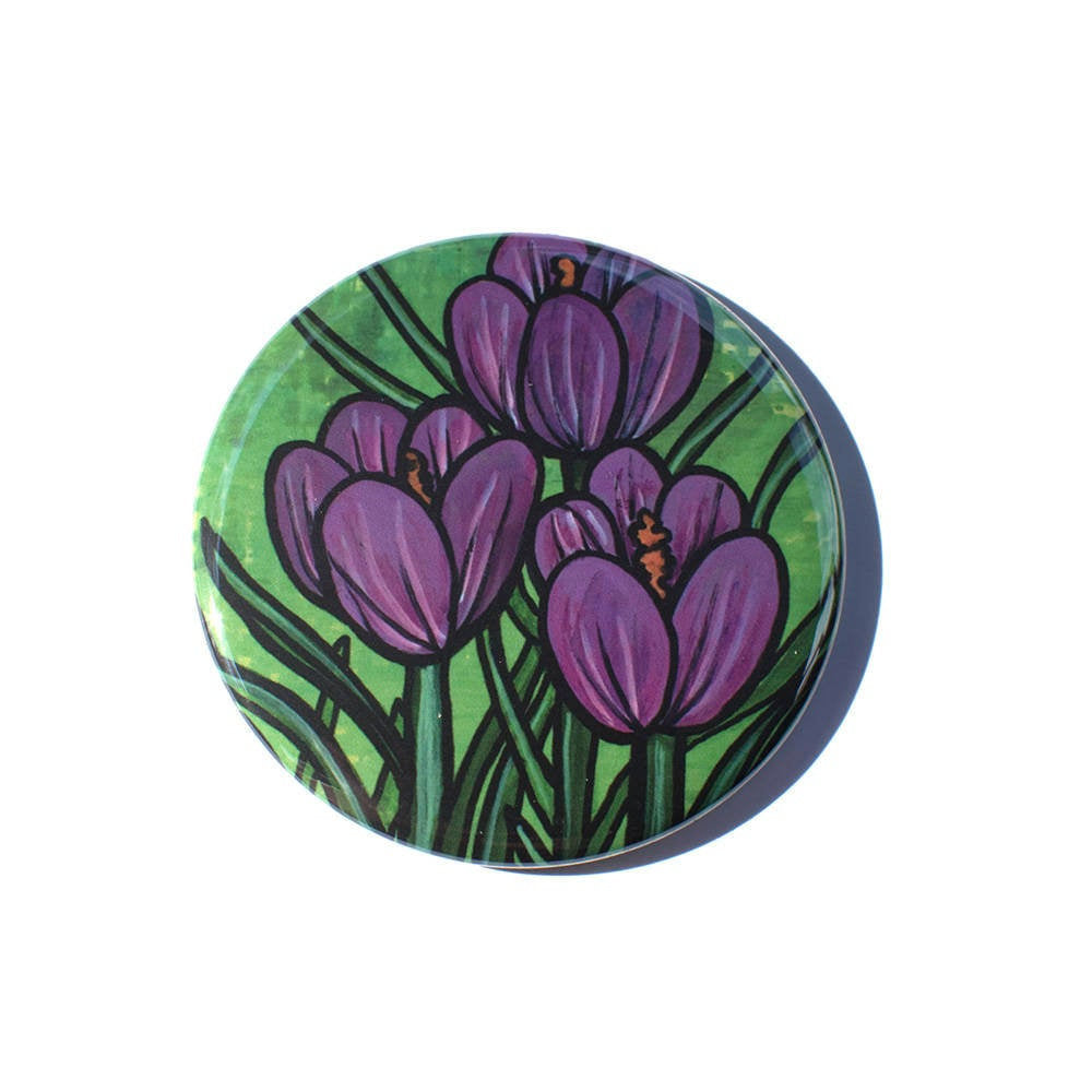 Purple Crocus Magnet, Pocket Mirror, or Pin Back Button