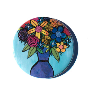 Vase of Flowers Pocket Mirror, Magnet, or Pin