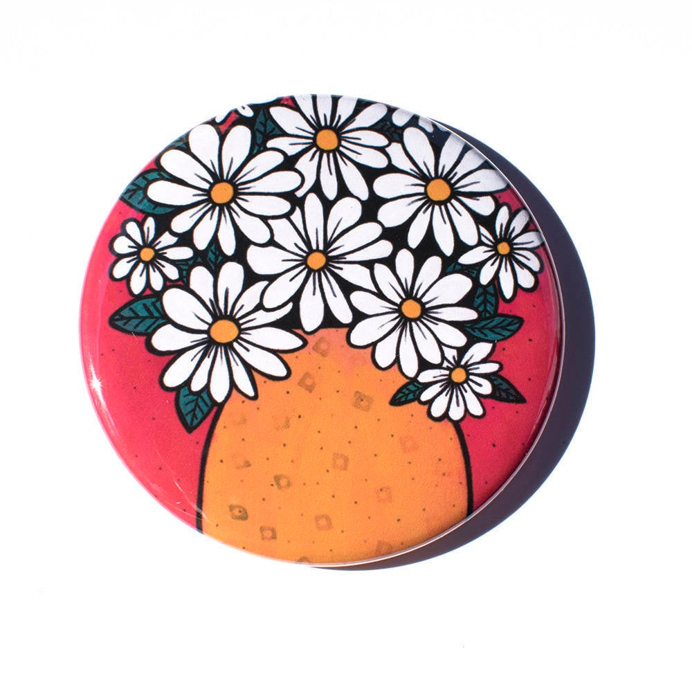 Cheerful Daisy Magnet, Mirror, or Pin Back Button
