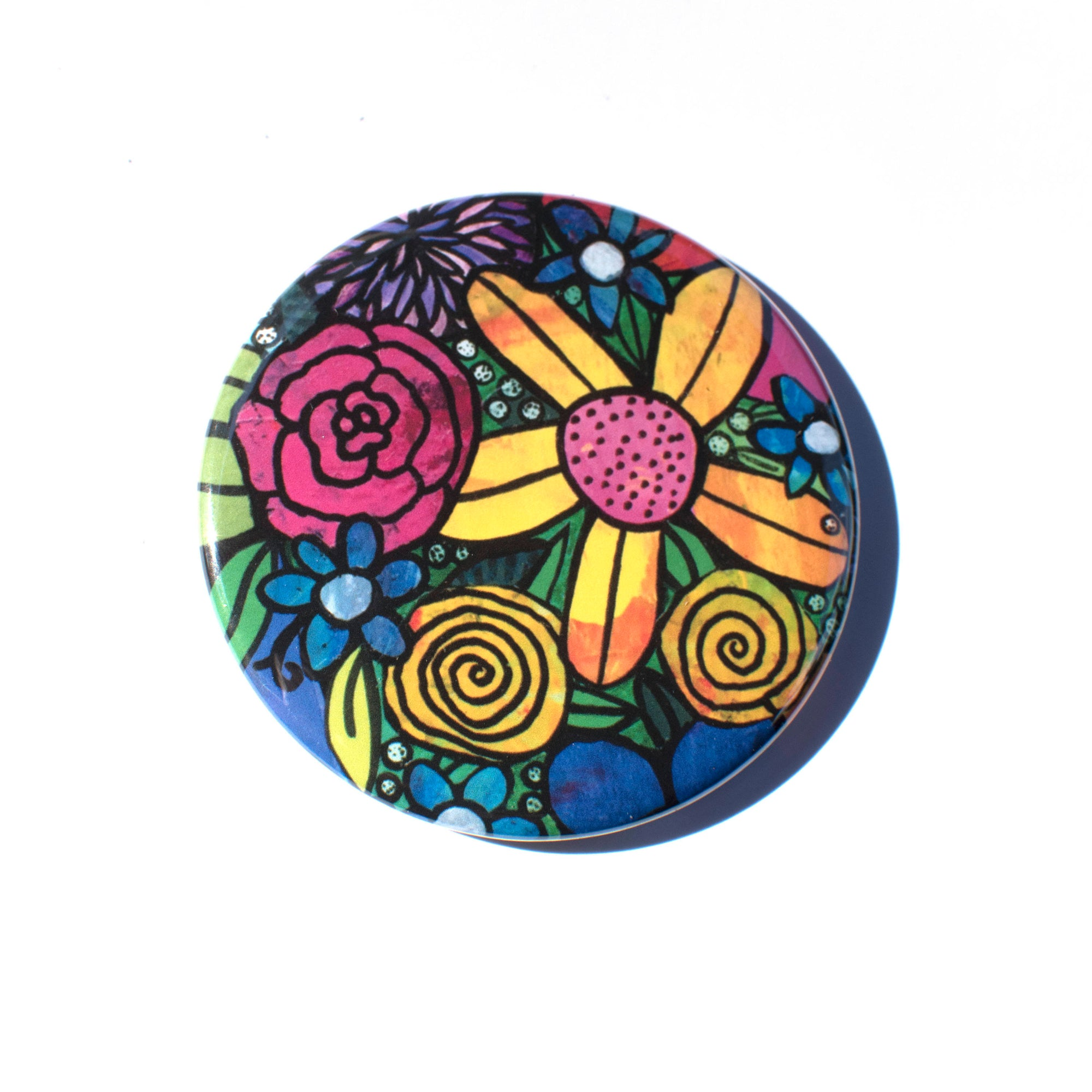 Bouquet of Flowers Pocket Mirror, Fridge Magnet, or Pin
