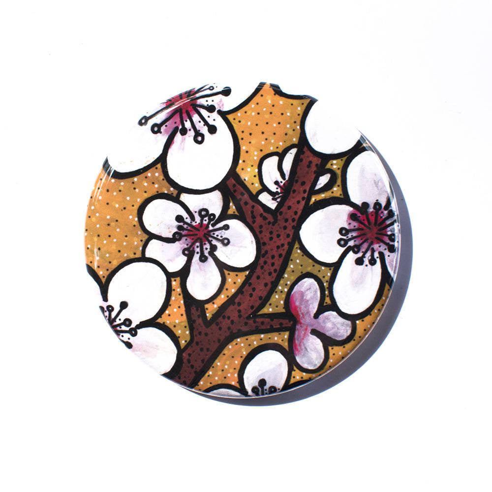 Cherry Blossoms Pocket Mirror, Magnet, or Pin