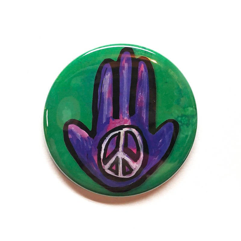 Peace Hamsa Magnet, Pin or Pocket Mirror