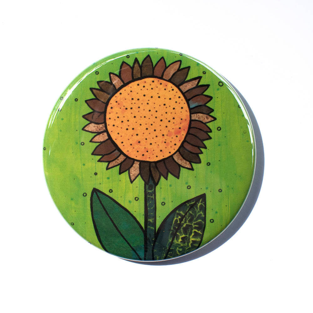 Sunflower Pocket Mirror, Magnet or Pin Back Button