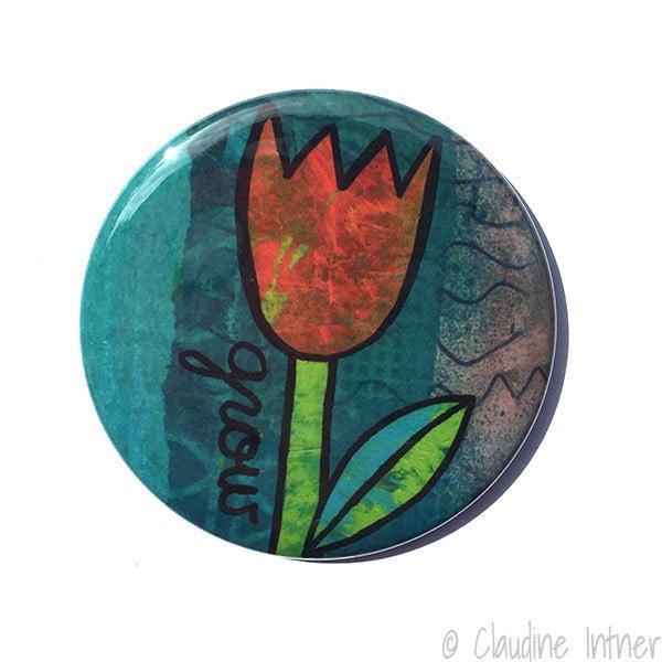 GROW Magnet, Pocket Mirror, or Pin Back Button