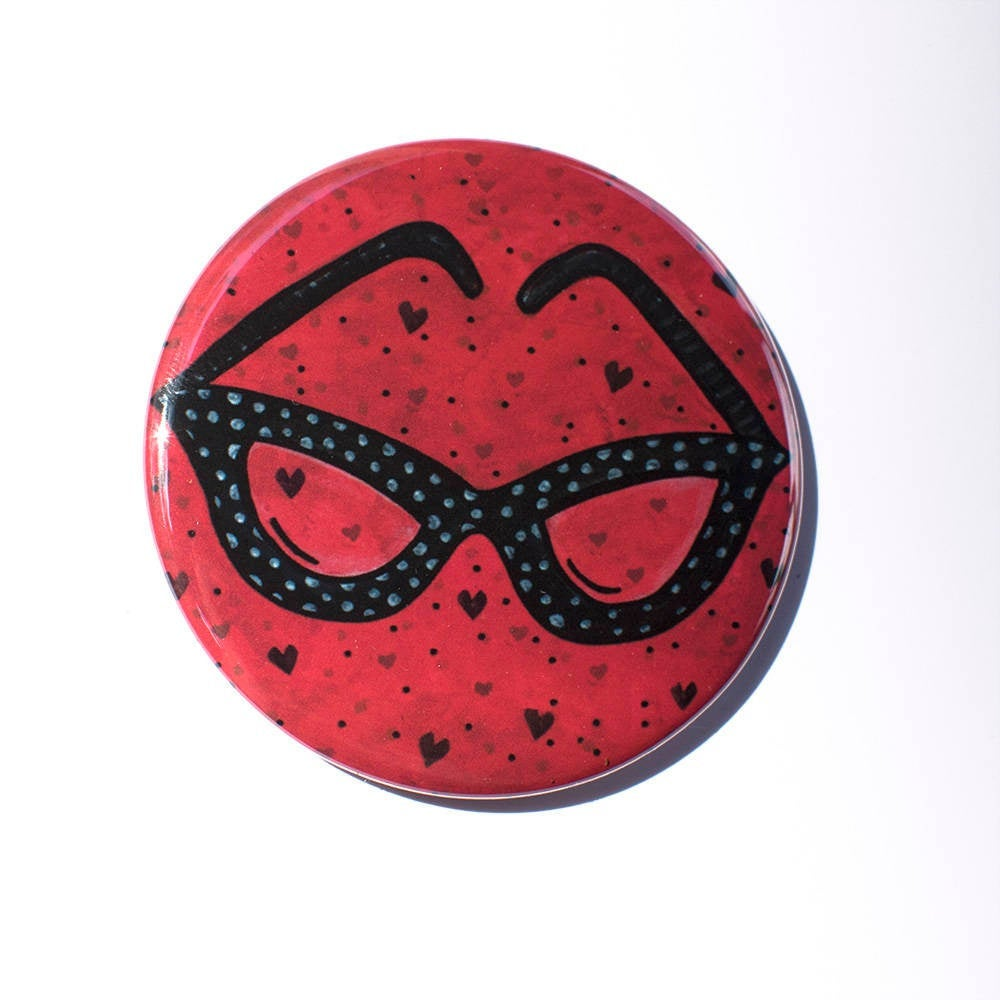 Cat Eye Glasses Magnet, Mirror, or Pin