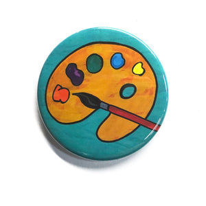 Artist Palette Magnet, Pin Back Button or Pocket Mirror