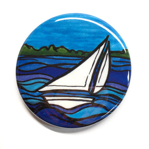 Sailboat Magnet, Pinback Button, or Pocket Mirror