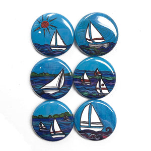 Sailboat Magnet or Pin Back Button Set