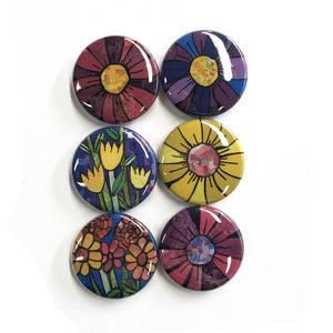 Whimsical Flower Magnets and Pins - Colorful Gerbera Daisies and Tulips - Cheerful Fridge Magnet or Pinback Button Set