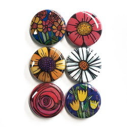 Flower Magnets or Flower Pinback Buttons Set - Pretty Floral Fridge Magnets or Pins - Tulips, Rose, Daisy