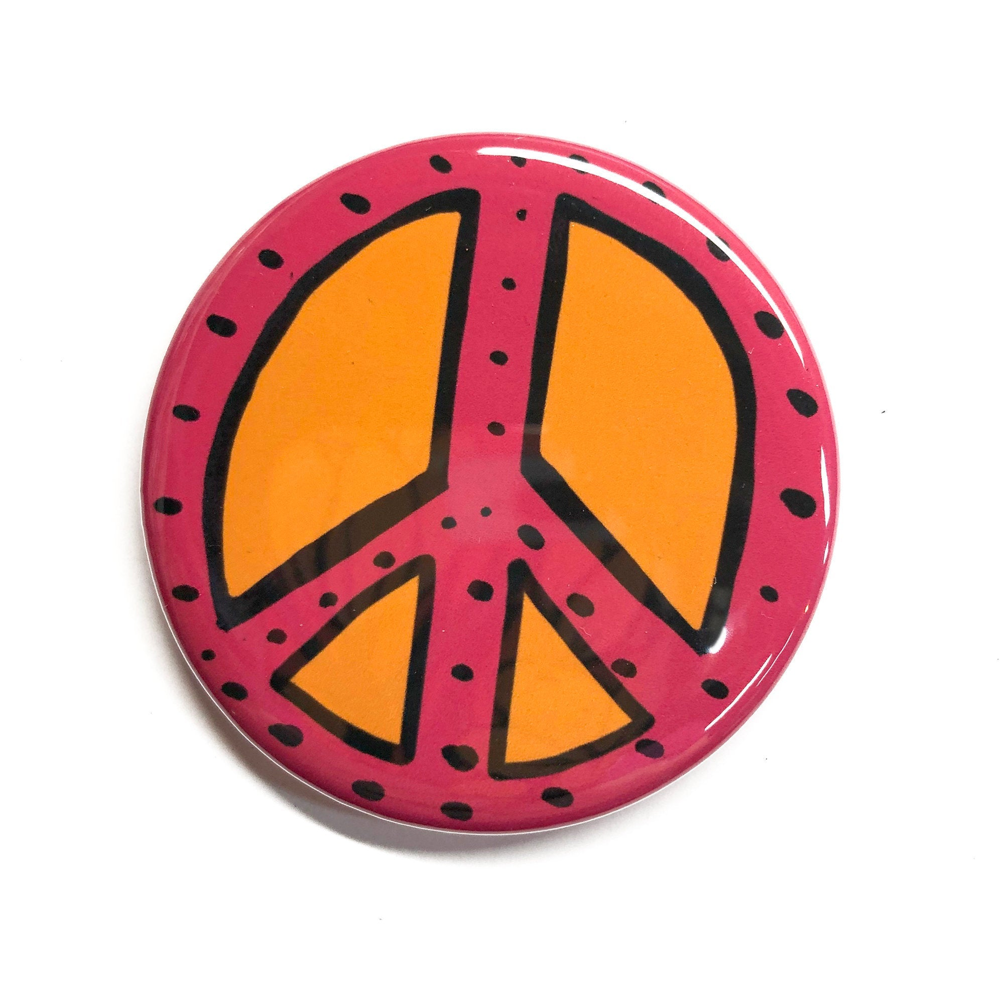 Pink Peace Sign Magnet, Pin, or Pocket Mirror