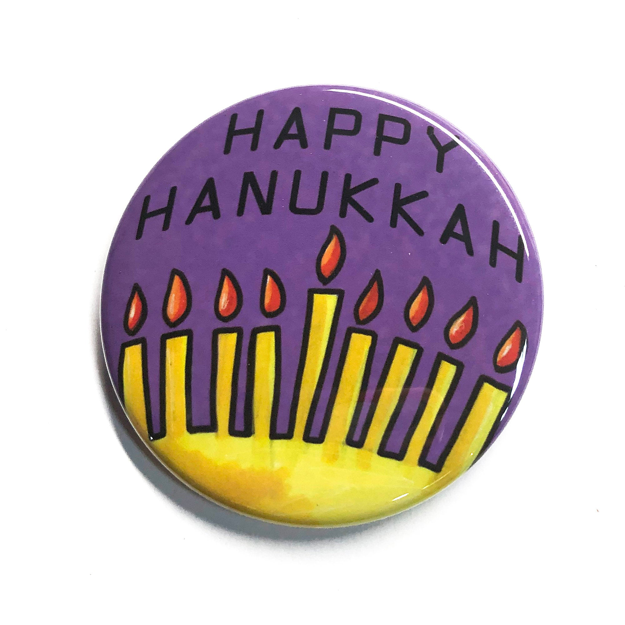 Happy Hanukkah Pin, Magnet or Pocket Mirror