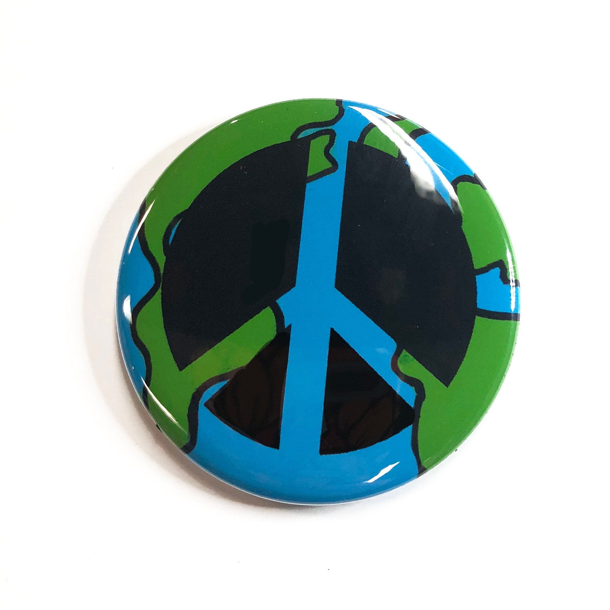 World Peace Pin Back Button, Magnet, or Mirror