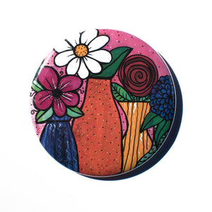 Flower Pocket Mirror, Magnet, or Pin