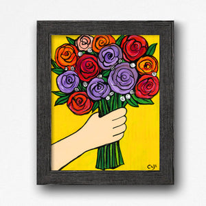 Rose Bouquet Print - Purple, Red, and Orange Roses