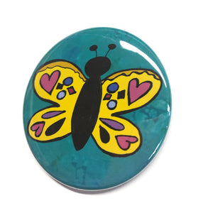 Butterfly Pin Back Button or Magnet or Pocket Mirror