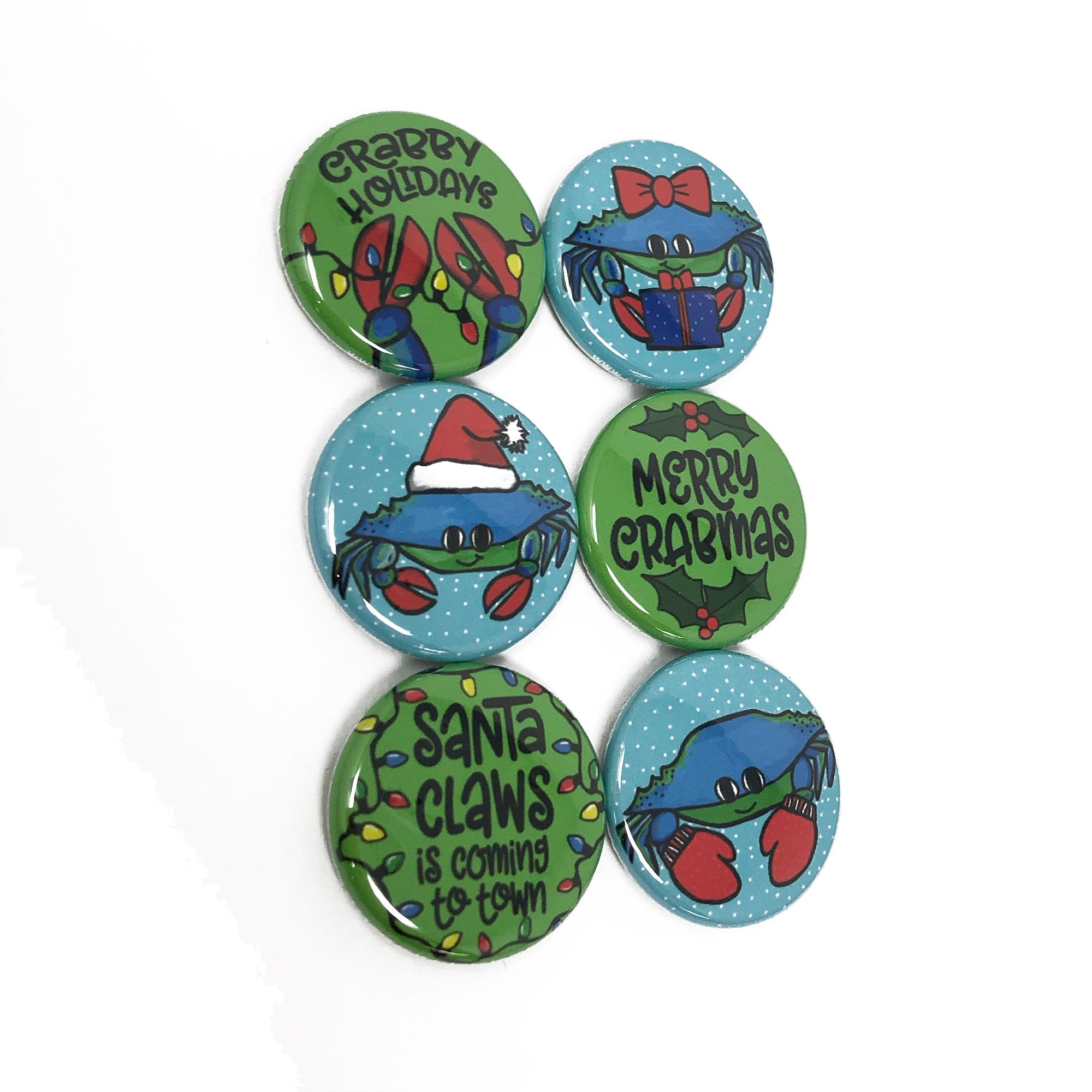 Christmas Crab Magnets or Pin Back Buttons - Merry Crabmas