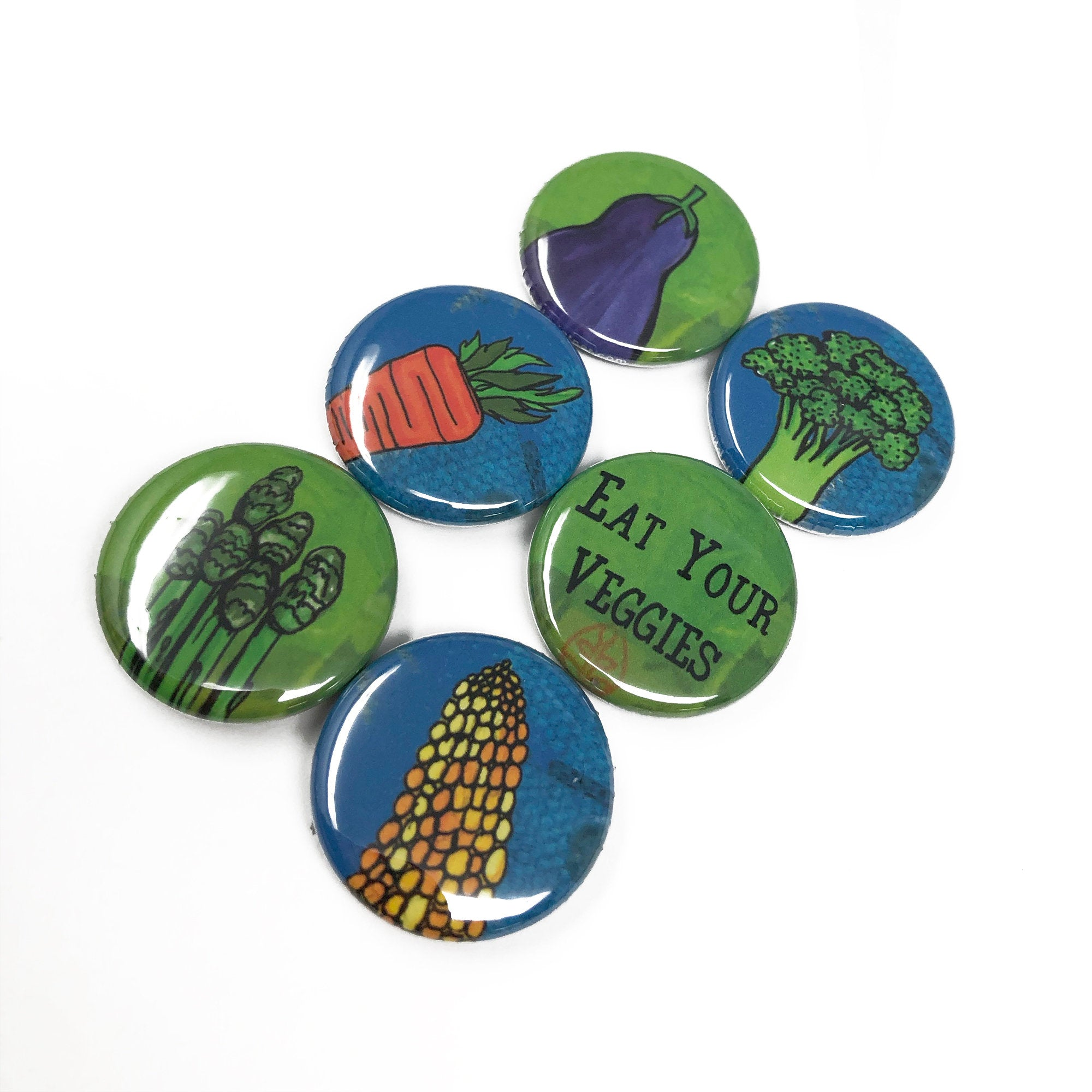 Eat Your Veggies Magnet or Pin Back Button Set - Vegetables - Healthy Food - Fridge Magnets or Pins