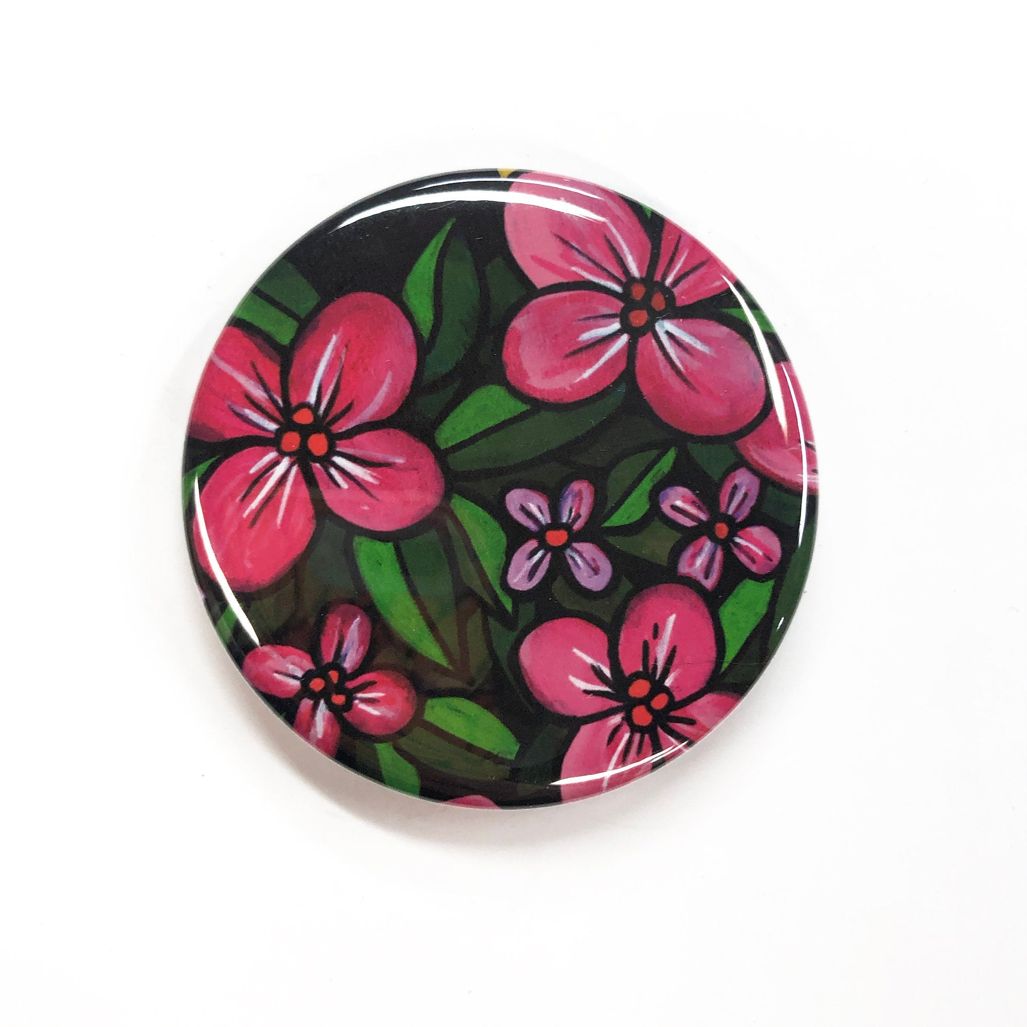 Pink Flower Mirror, Magnet, or Pin