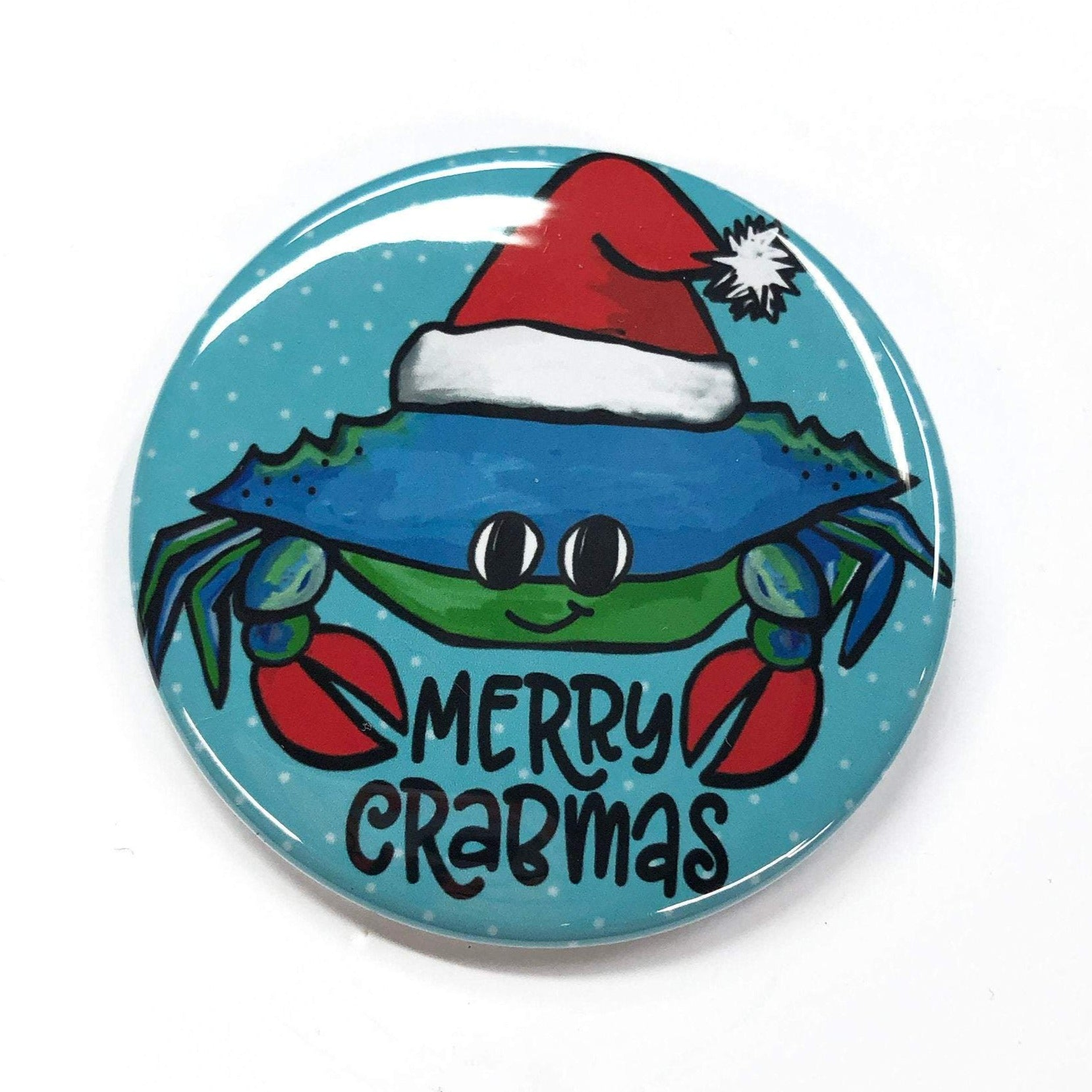 Merry Crabmas Pin Back Button, Magnet, or Pocket Mirror