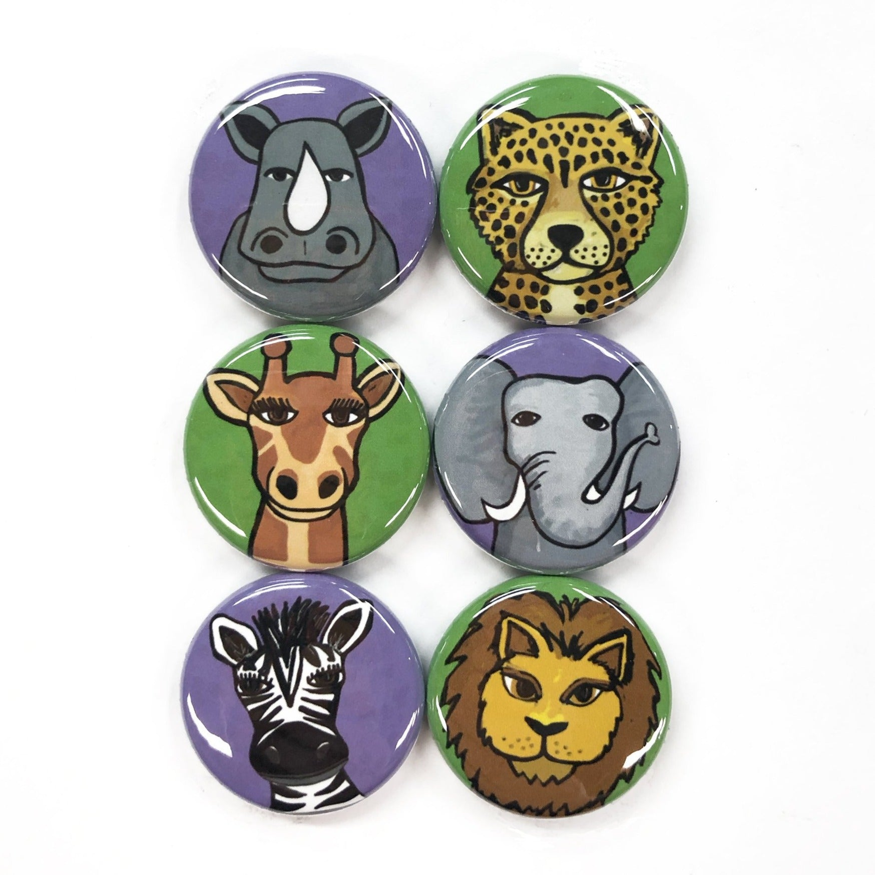 African Animal Magnet or Pin Set