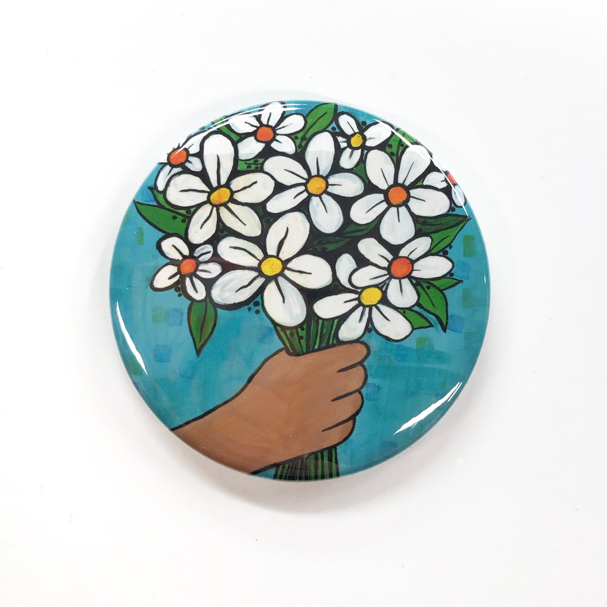 Daisy Bouquet Magnet, Pocket Mirror, or Pinback Button