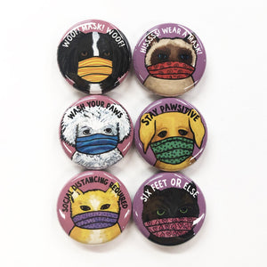 Cats and Dogs in Masks Magnet or Pin Back Button Set