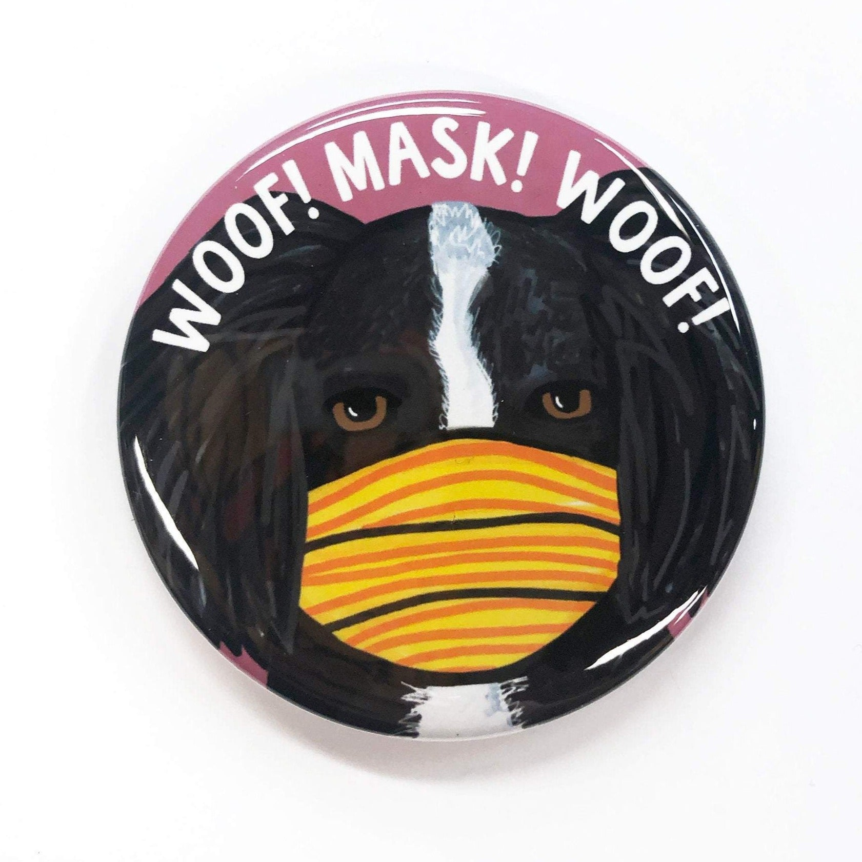 Dog Wearing Mask Pin, Magnet, or Mirror