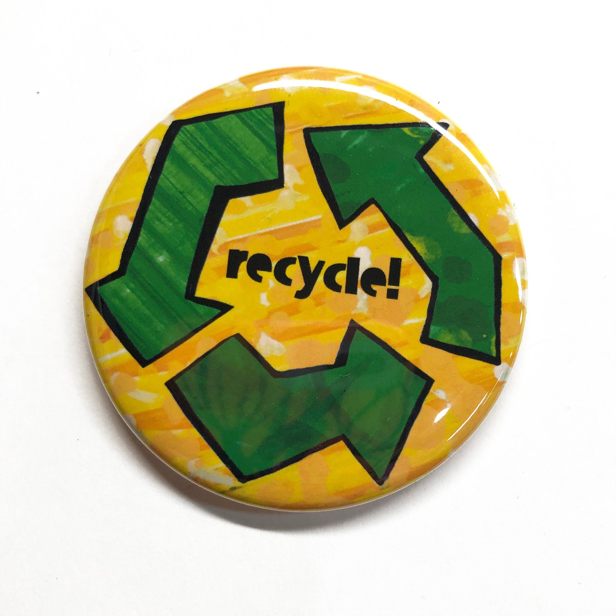 Recycling Pin Back Button or Fridge Magnet