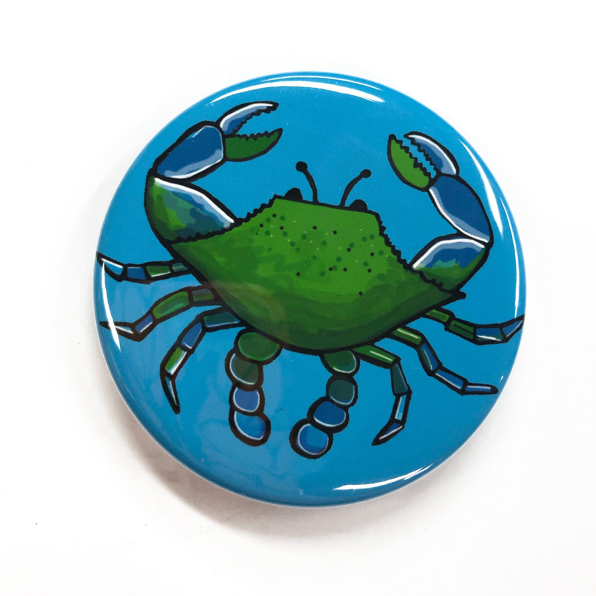 Blue Crab Pin Back Button, Magnet, or Pocket Mirror