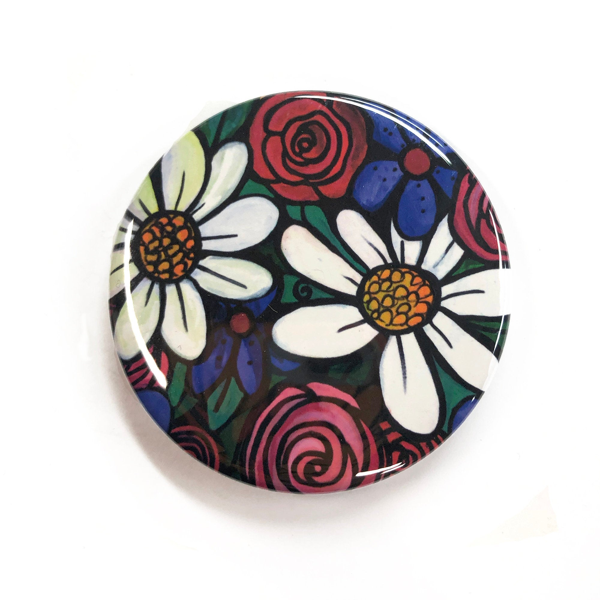 Floral Pocket Mirror, Pinback Button, or Magnet