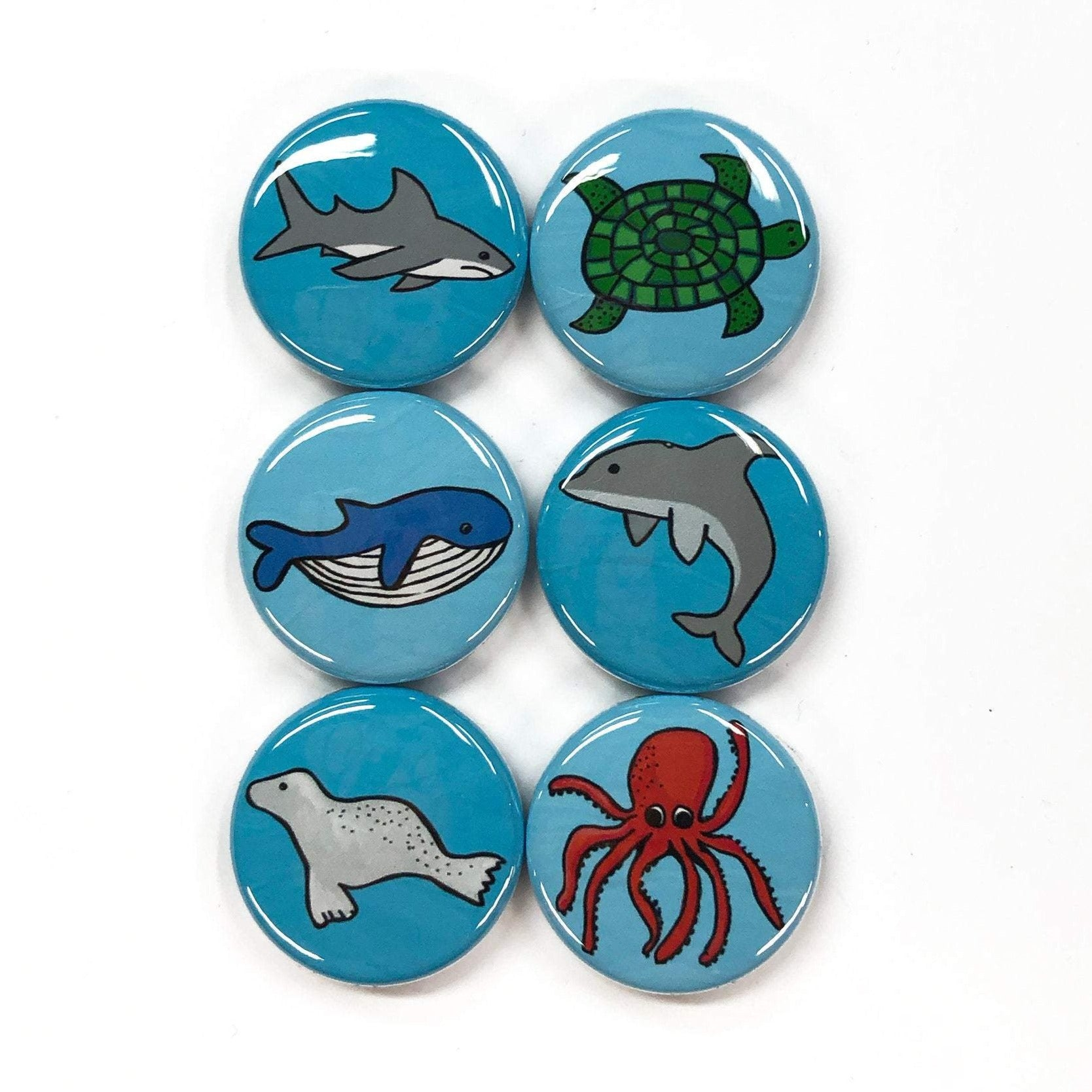 Marine Life Magnet or Pin Back Button Set
