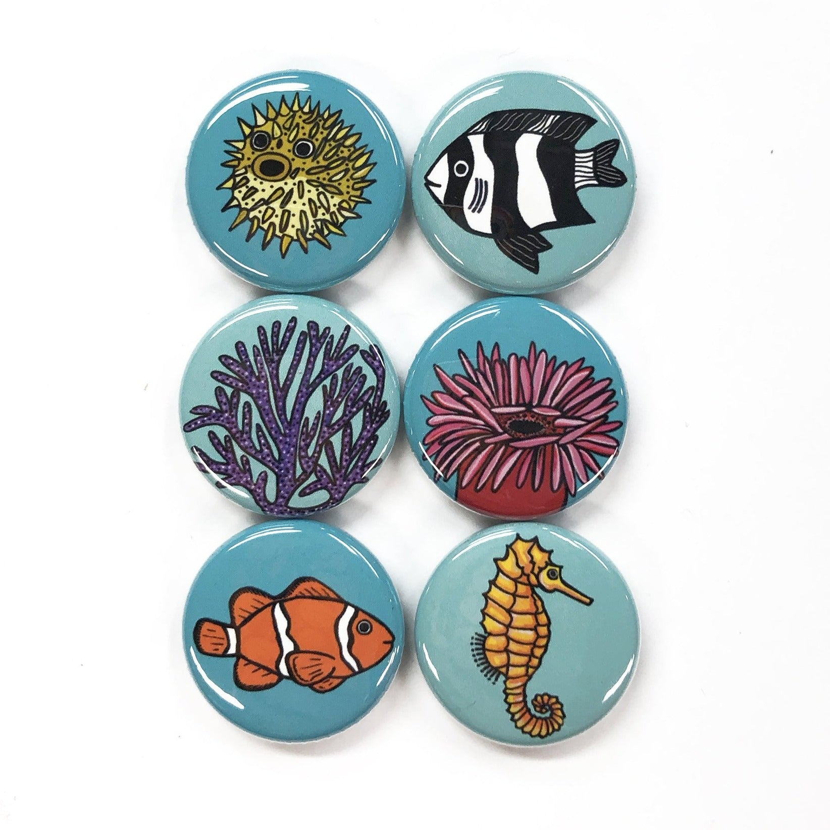 Coral Reef Fish Magnet or Pinback Button Set
