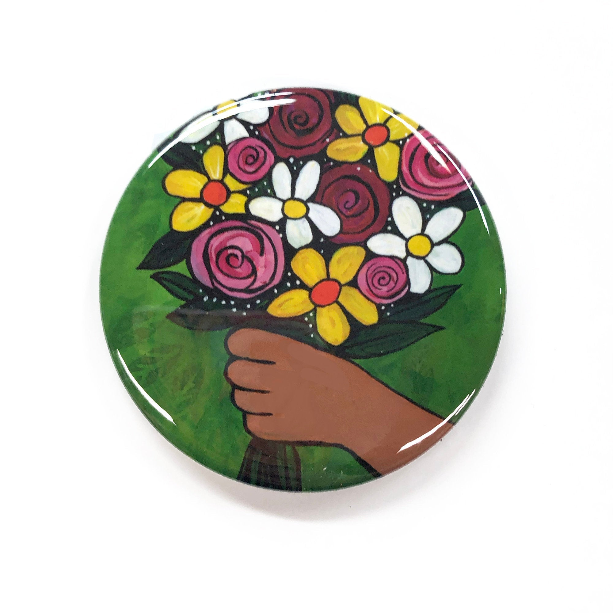 Flower Bouquet Magnet, Pin, or Pocket Mirror