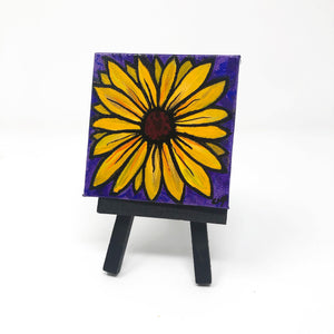 Mini Black Eyed Susan Painting with Easel