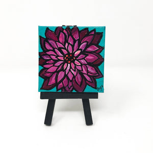 Small Dahlia Painting with Easel
