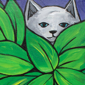 Cat Playing Hide and Seek Painting