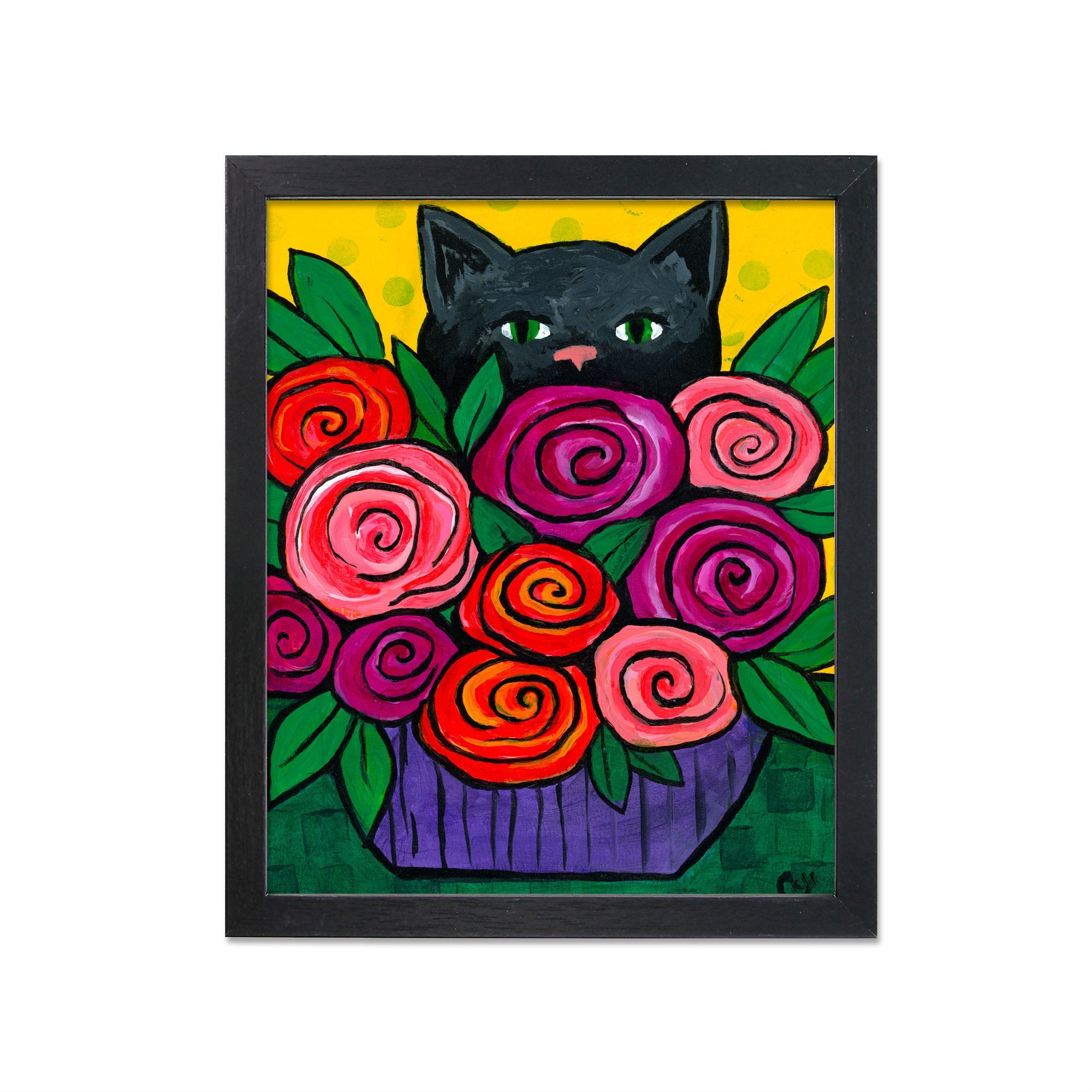 Black Cat with Roses Print