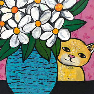 Yellow Tabby Cat with Flowers Painting