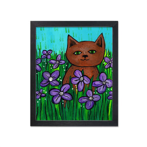 Brown Cat in Field of Flowers Art Print