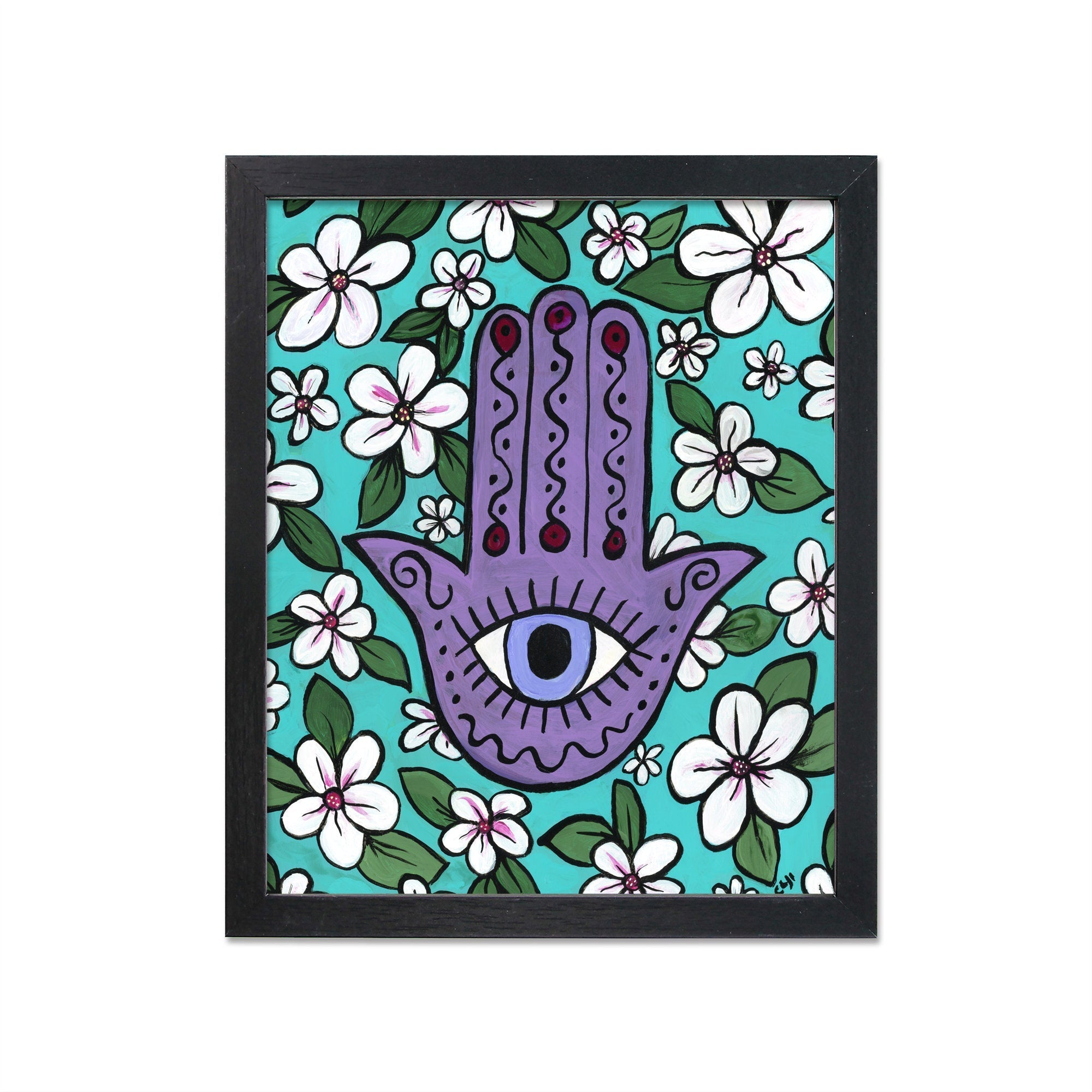 Cherry Blossom Hamsa Print with Evil Eye
