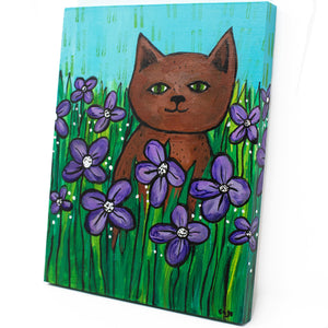 Brown Cat in Flower Field Painting