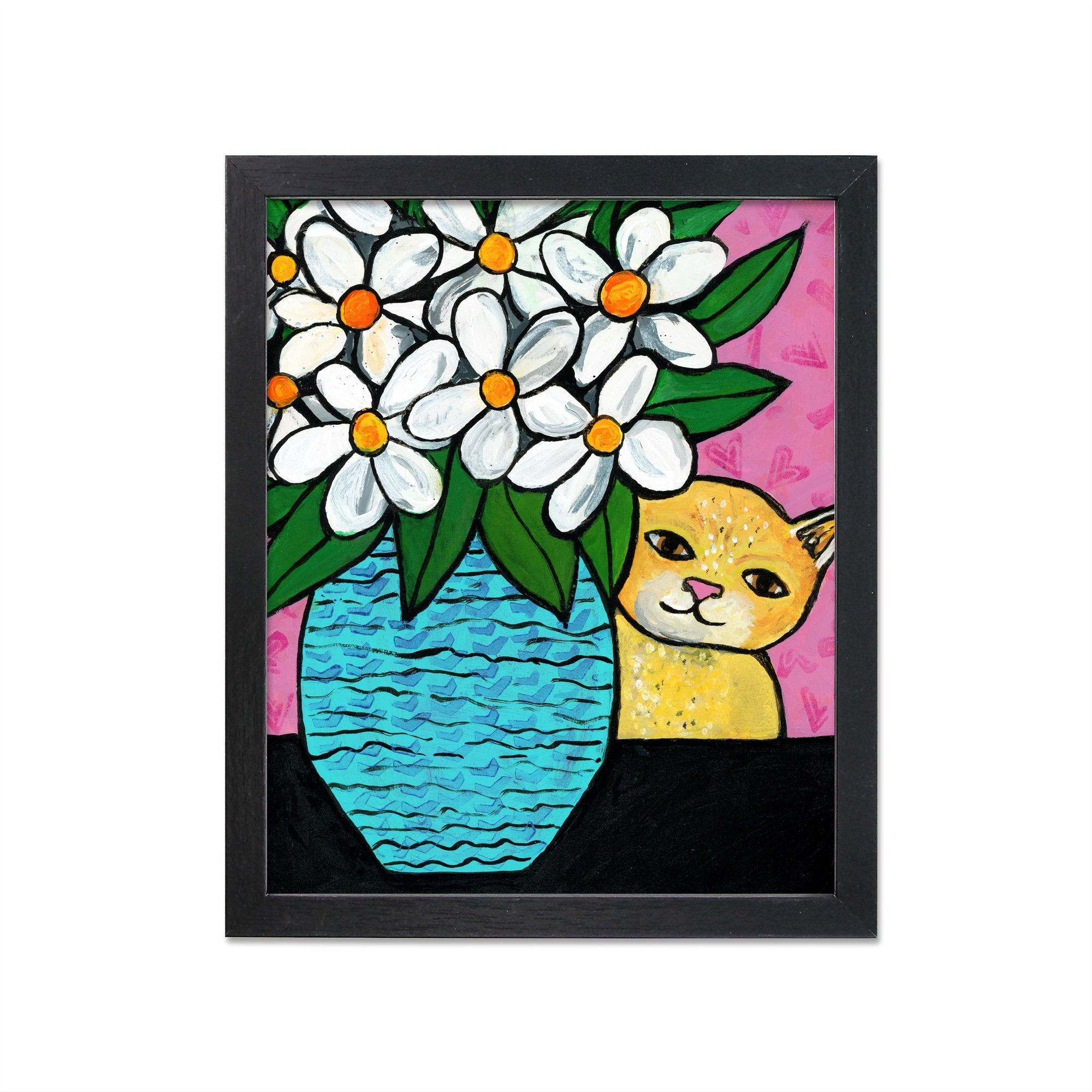 Yellow Tabby Cat with Flowers Still Life Print