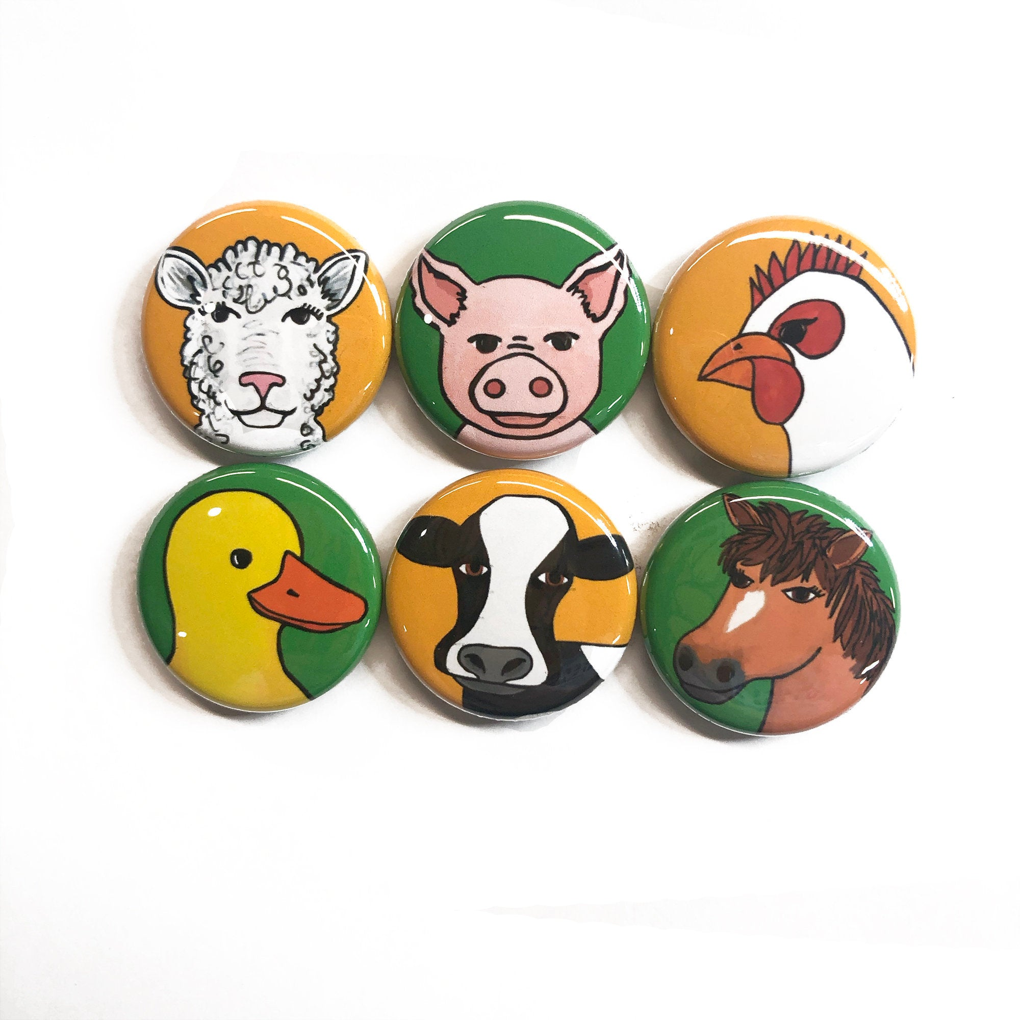 Farm Animal Magnets or Pin Back Buttons - Cow, Pig, Sheep, Rooster, Duck, Horse Fridge Magnet Set or Pinback Badge Set